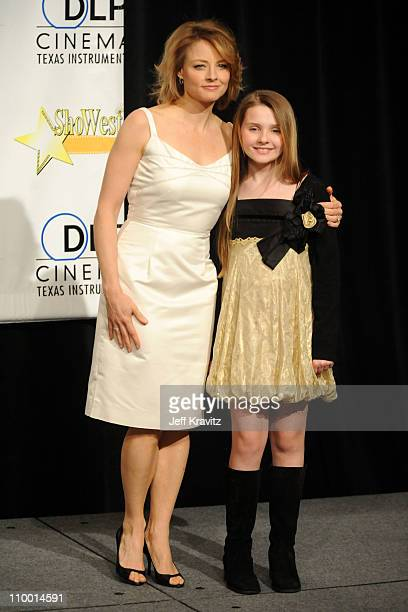 Actress Jodie Foster and actress Abigail Breslin attend the press conference for the final night banquet and awards ceremony at ShoWest 2008 at The...