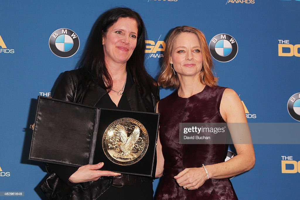 Actress Jodie Foster and Director Laura Poitras winner of the Outstanding Directorial Achievement in Documentary for 'Citizenfour' poses in the press...