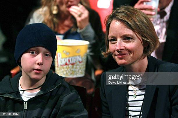 Actress Jodie Foster and son Christopher 'Kit' Foster attend the GoGo's concert at the Greek Theatre on August 17 2011 in Los Angeles California