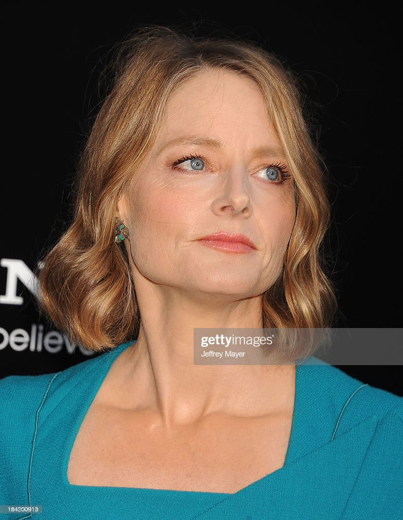 Actress <a gi-track='captionPersonalityLinkClicked' href=/galleries/search?phrase=Jodie+Foster&family=editorial&specificpeople=204488 ng-click='$event.stopPropagation()'>Jodie Foster</a> arrives at the Los Angeles premiere of 'Elysium' at Regency Village Theatre on August 7, 2013 in Westwood, California.