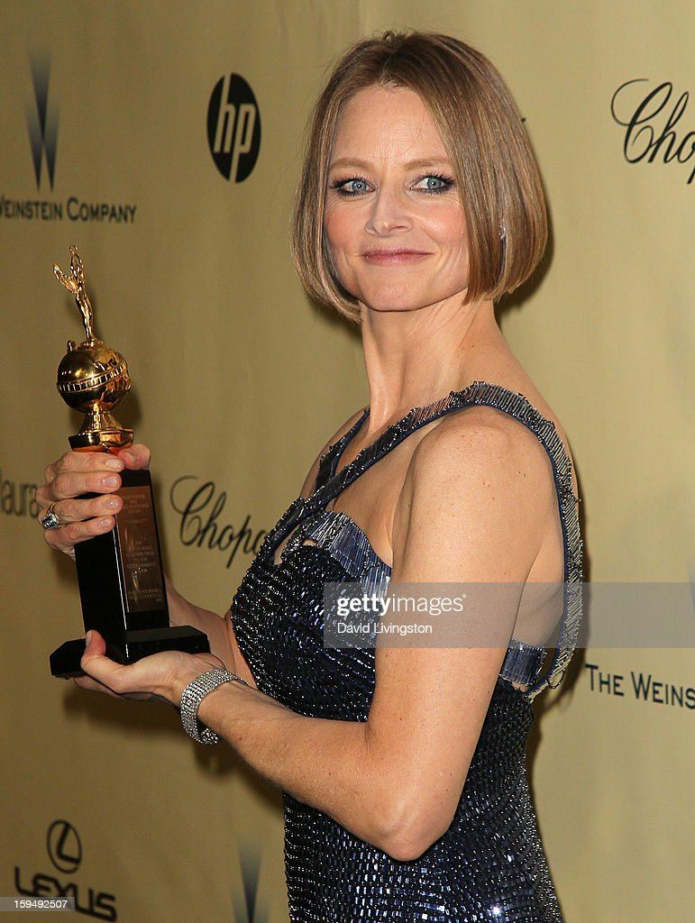 Actress <a gi-track='captionPersonalityLinkClicked' href=/galleries/search?phrase=Jodie+Foster&family=editorial&specificpeople=204488 ng-click='$event.stopPropagation()'>Jodie Foster</a> attends The Weinstein Company's 2013 Golden Globe Awards After Party at The Beverly Hilton hotel on January 13, 2013 in Beverly Hills, California.