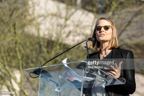 Actress Jodie Foster speaks at the United Voices Rally at United Talent Agency on February 24 2017 in Beverly Hills California