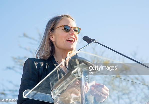 TOPSHOT Actress Jodie Foster speaks at the United Voices Rally outside the United Talent Agency in Beverly Hills California on February 24 2017 The...