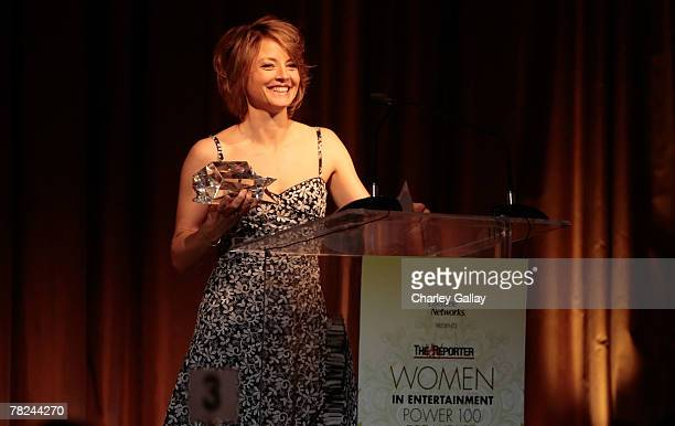 Actress Jodie Foster speaks during the Hollywood Reporter's Women in Entertainment breakfast honoring Jodie Foster held at the Beverly Hills Hotel on...