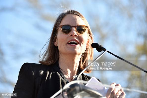 Actress Jodie Foster speaks during the United Voices Rally at UTA Plaza on February 24 2017 in Beverly Hills California