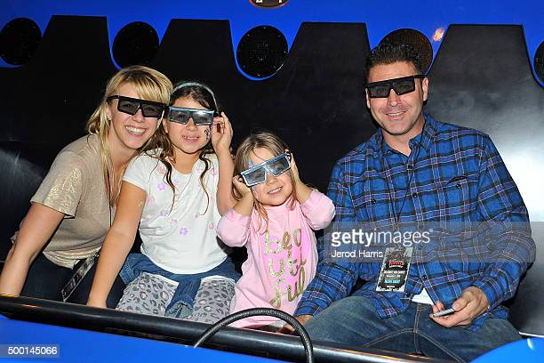 Actress Jodie Sweetin daughters Beatrix SweetinCoyle Zoie Herpin and Justin Hodak attend Knott's Merry Farm Countdown to Christmas Tree Lighting at...
