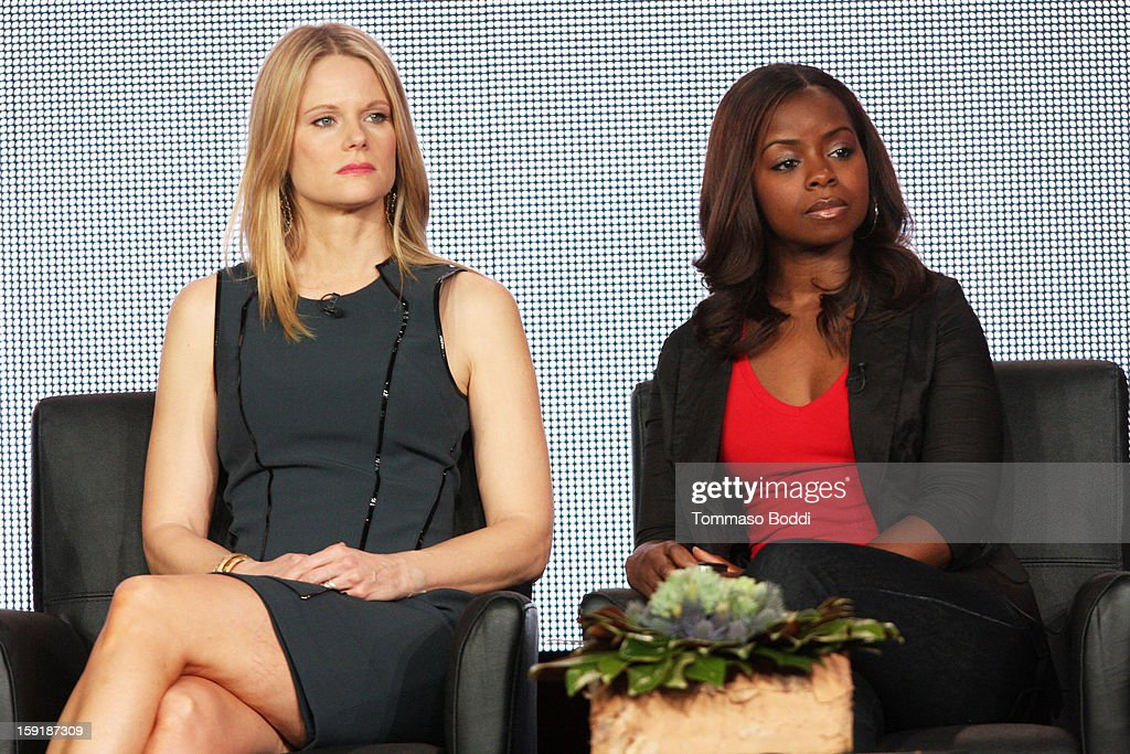 Actress Joelle Carter (L) and Erica Tazel of the show 'Justified' attend the TCA 2013 Winter Press Tour - FX panels held at The Langham Huntington Hotel and Spa on January 9, 2013 in Pasadena, California.