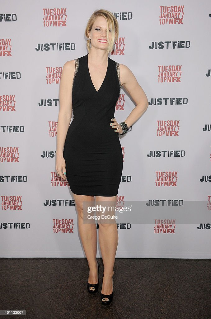 Actress <a gi-track='captionPersonalityLinkClicked' href=/galleries/search?phrase=Joelle+Carter&family=editorial&specificpeople=2433556 ng-click='$event.stopPropagation()'>Joelle Carter</a> arrives at the Los Angeles premiere of FX 'Justified' at DGA Theater on January 6, 2014 in Los Angeles, California.