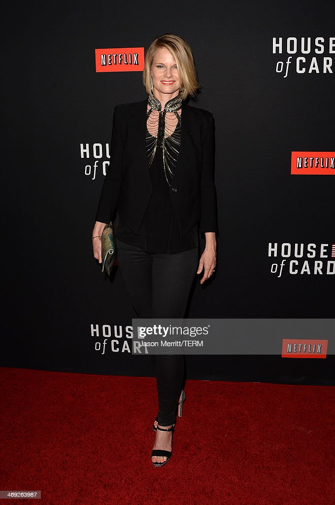 Actress Joelle Carter arrives at the special screening of Netflix's 'House of Cards' Season 2 at the Directors Guild of America on February 13, 2014 in Los Angeles, California.