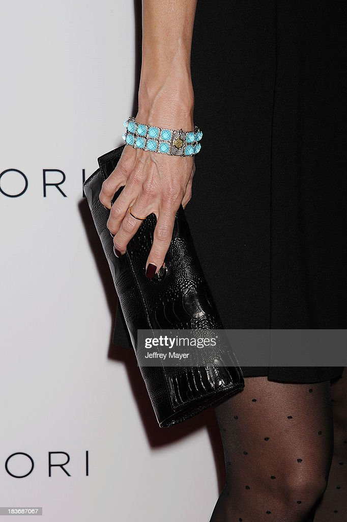 Actress <a gi-track='captionPersonalityLinkClicked' href=/galleries/search?phrase=Joelle+Carter&family=editorial&specificpeople=2433556 ng-click='$event.stopPropagation()'>Joelle Carter</a> (handbag, bracelet, ring detail) at the Tacori's Annual Club Tacori 2013 Event at Greystone Manor Supperclub on October 8, 2013 in West Hollywood,