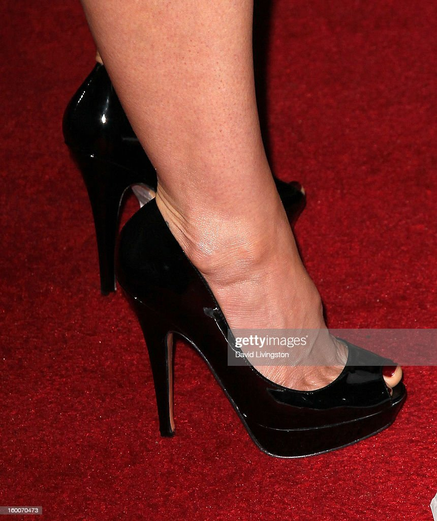 Actress Joelle Carter (shoe detail) attends the premiere of FX's 'Justified' Season 4 at the Paramount Theater on the Paramount Studios lot on January 5, 2013 in Hollywood, California.