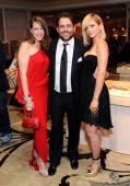 Actress Joely Fisher host Brett Ratner and actress Mena Suvari attend the 100th anniversary celebration of the Beverly Hills Hotel Bungalows...