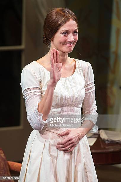 Actress Joely Richardson during curtain call at 'The Belle Of Amherst' Opening Night at The Westside Theatre on October 19 2014 in New York City