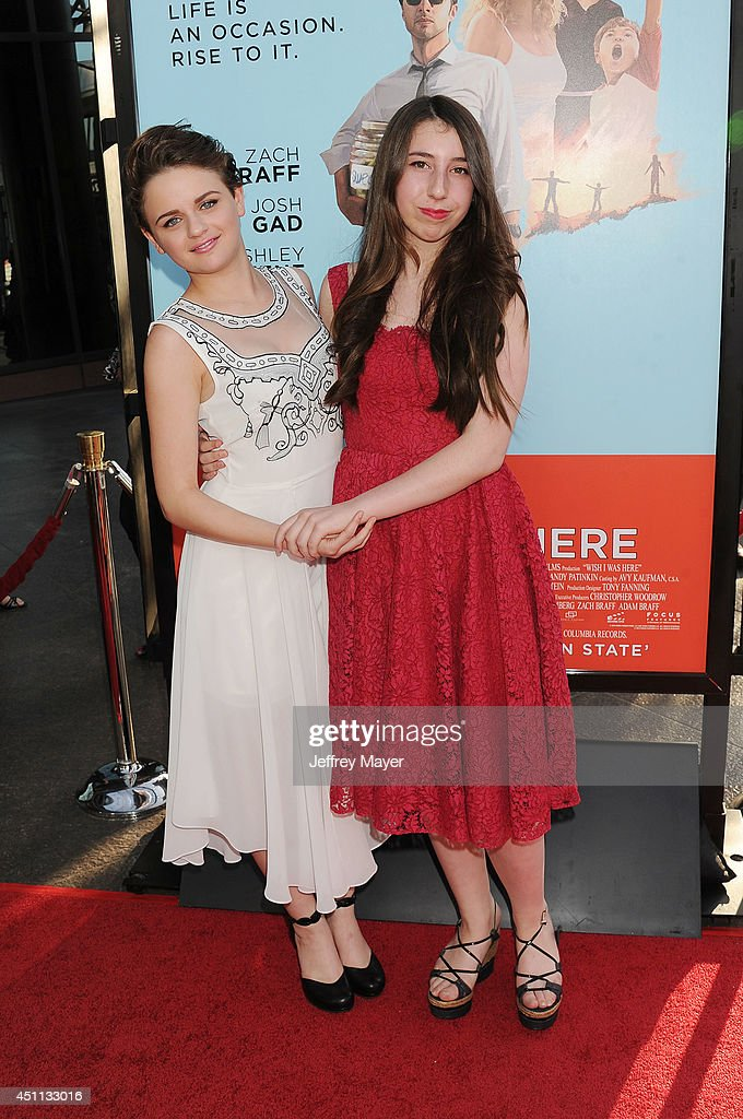 Actress <a gi-track='captionPersonalityLinkClicked' href=/galleries/search?phrase=Joey+King+-+Actress&family=editorial&specificpeople=2264584 ng-click='$event.stopPropagation()'>Joey King</a> (L) and Emma Raimi attend the 'Wish I Was Here' Los Angeles premiere on June 23, 2014 at the DGA Theater in Los Angeles, California.