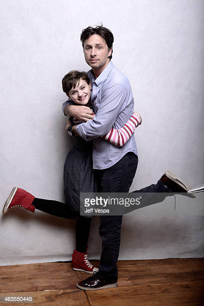 Actress Joey King and filmmaker Zach Braff pose for a portrait during the 2014 Sundance Film Festival at the WireImage Portrait Studio at the Village...