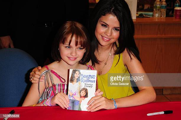 Actress Joey King and Selena Gomez meet and greet fans to promote movie 'Ramona Beezus' at Borders on July 17 2010 in Miami United States