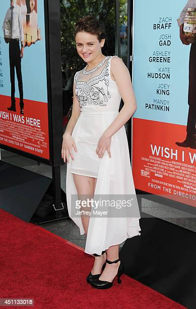 Actress Joey King attends the 'Wish I Was Here' Los Angeles premiere on June 23 2014 at the DGA Theater in Los Angeles California