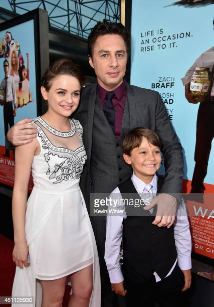 Actress Joey King filmmaker/actor Zach Braff and actor Pierce Gagnon attend Focus Features' 'Wish I Was Here' premiere at DGA Theater on June 23 2014...