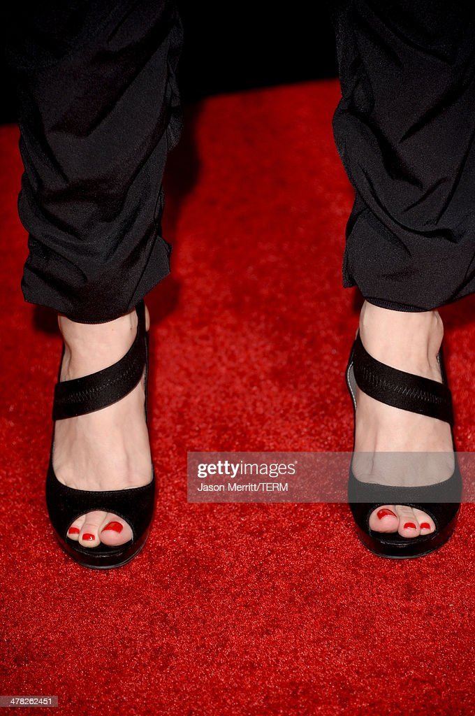 Actress Joey Lauren Adams (shoe detail) arrives at the Los Angeles premiere of 'Veronica Mars' at TCL Chinese Theatre on March 12, 2014 in Hollywood, California.