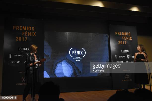 Actress Johanna Murillo and Irene Azuela are seen during a press conference to promote Fenix Film Awards 2017 on October 09 2017 in Mexico City Mexico