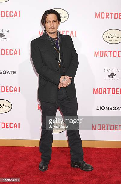 Actress Johnny Depp arrives at The Los Angeles Premiere Of 'Mortdecai' at TCL Chinese Theatre on January 21 2015 in Hollywood California
