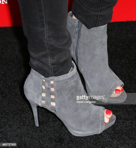 Actress Jordan Hayes shoe detail attends the PlayStation Sony Pictures Television series premiere of 'POWERS' at Sony Pictures Studios on March 9...