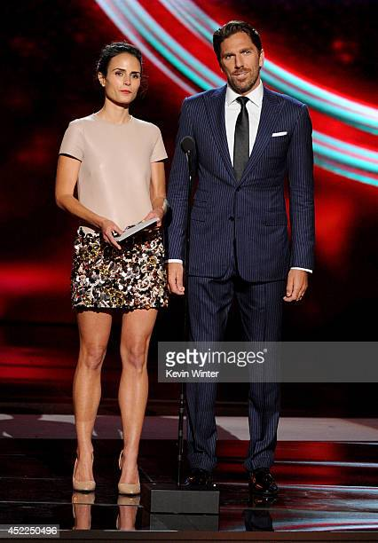Actress Jordana Brewster and NHL player Henrik Lundqvist speak onstage during the 2014 ESPYS at Nokia Theatre LA Live on July 16 2014 in Los Angeles...