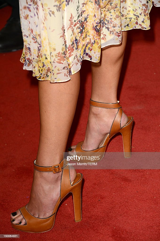 Actress Jordana Brewster (shoe detail) arrives at the Hollywood Foreign Press Association's 2012 Installation Luncheon held at the Beverly Hills Hotel on August 9, 2012 in Beverly Hills, California.