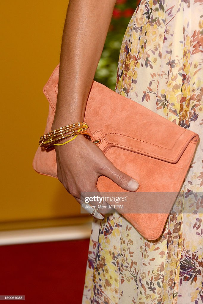Actress Jordana Brewster (purse detail) arrives at the Hollywood Foreign Press Association's 2012 Installation Luncheon held at the Beverly Hills Hotel on August 9, 2012 in Beverly Hills, California.