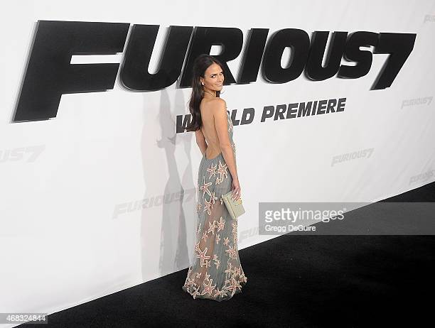 Actress Jordana Brewster arrives at the Los Angeles premiere of 'Furious 7' at TCL Chinese Theatre IMAX on April 1 2015 in Hollywood California