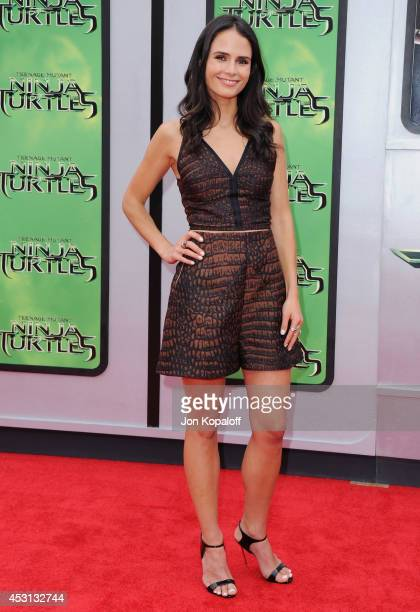 Actress Jordana Brewster arrives at the Los Angeles Premiere 'Teenage Mutant Ninja Turtles' at Regency Village Theatre on August 3 2014 in Westwood...