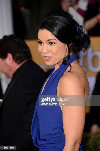 Actress Jordin Sparks attends the 19th Annual Screen Actors Guild Awards at The Shrine Auditorium on January 27 2013 in Los Angeles California...