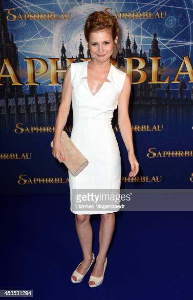 Actress Josefine Preuss attends the Munich premiere of the film 'Saphirblau' at Mathaeser Filmpalast on August 12 2014 in Munich Germany