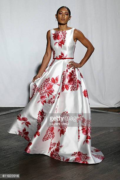 Actress Josephine Jobert walks the runway during the Christophe Guillarme show as part of the Paris Fashion Week Womenswear Spring/Summer 2017 on...