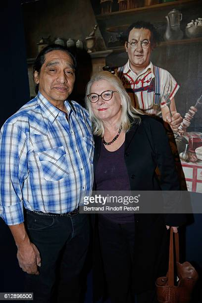 Actress Josiane Balasko and her husband George Aguilar attend the Coluche Exhibition Opening This exhibition is organized for the 30 years of the...