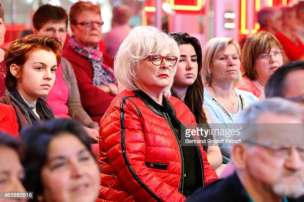 Actress Josiane Balasko performs during filming on 'Vivement Dimanche French TV show' tray of a scene of the movie 'C'est le metier qui rentre'...