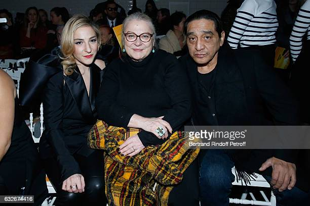 Actress Josiane Balasko sitting between her husband George Aguilar and her daughter Marilou Berry attend the Jean Paul Gaultier Haute Couture Spring...