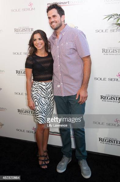 Actress Josie Loren and host Matt Leinart arrive at Matt Leinart Foundation's 8th Annual Celebrity Bowl For Charity Event at Lucky Strikes on July 17...
