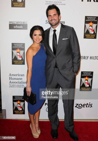 Actress Josie Loren and NFL Player Matt Leinart attends the 3rd annual American Humane Association Hero Dog Awards at The Beverly Hilton Hotel on...