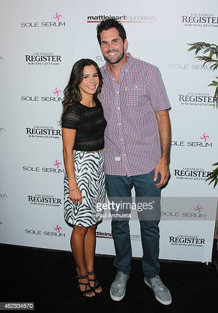 Actress Josie Loren and NFL Quarterback Matt Leinart attend Matt Leinart foundation's 8th annual celebrity bowl for charity event at Lucky Strikes on...