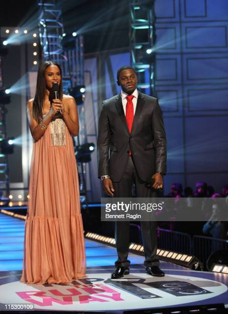 Actress Joy Bryant and actor Derek Luke host BET's Rip the Runway 2009 at the Hammerstein Ballroom on February 21 2009 in New York City