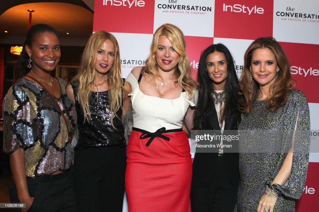 Actress Joy Bryant stylist Rachel Zoe host/photographer Amanda de Cadenet actress Demi Moore and actress Kelly Preston arrive at InStyle's...