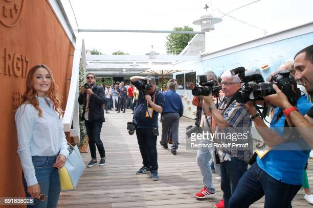 Actress Joy Esther attends the 2017 French Tennis Open Day Seven at Roland Garros on June 3 2017 in Paris France