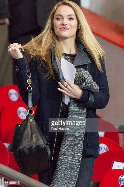 Actress Joy Esther attends the Paris Saint Germain FC vs Girondins de Bordeaux at Parc des Princes on January 31 2014 in Paris France