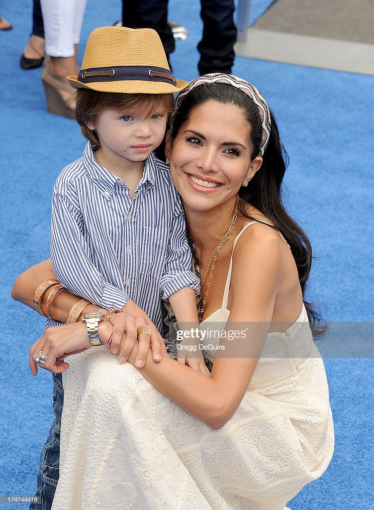 Actress Joyce Giraud and son Leonardo Ohoven arrive at the Los Angeles premiere of 'Smurfs 2' at Regency Village Theatre on July 28, 2013 in Westwood, California.