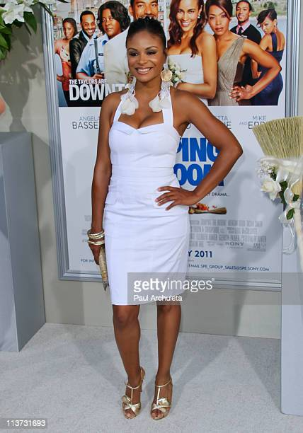 Actress Joyful Drake arrives at the 'Jumping The Broom' Los Angeles premiere at ArcLight Cinemas Cinerama Dome on May 4 2011 in Hollywood California