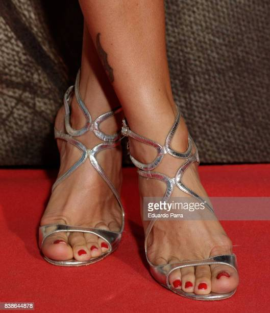 Actress Juana Acosta shoes detail attends the 'Veronica' premiere at Kinepolis cinema on August 24 2017 in Madrid Spain