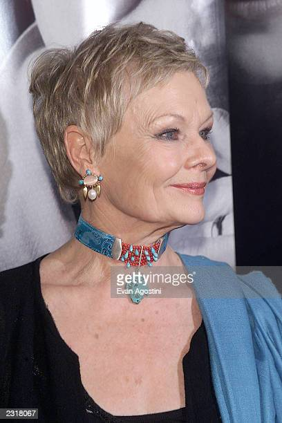 Actress Judi Dench arriving at the world film premiere of Miramax's 'Iris' at the Paris Theatre in New York City 12/2/2001 Photo Evan...