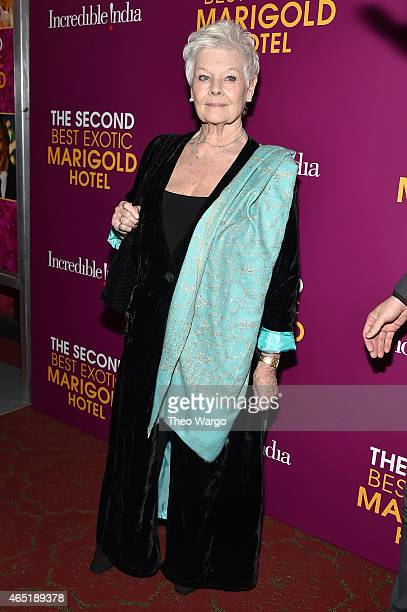Actress Judi Dench attends 'The Second Best Exotic Marigold Hotel' New York Premiere at the Ziegfeld Theater on March 3 2015 in New York City