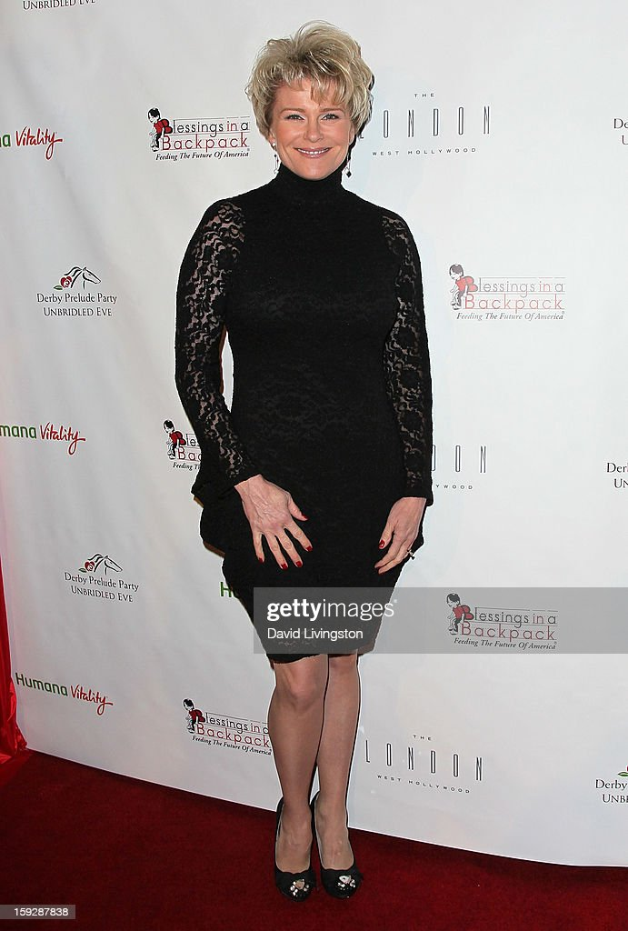 Actress <a gi-track='captionPersonalityLinkClicked' href=/galleries/search?phrase=Judi+Evans&family=editorial&specificpeople=663832 ng-click='$event.stopPropagation()'>Judi Evans</a> attends the Kentucky Derby Prelude Party at The London West Hollywood on January 10, 2013 in West Hollywood, California.